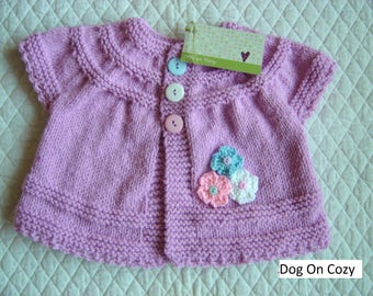 Baby Girl Cardigan Sweater, Hand Knit, Lilac, Size 6 - 12 months, Baby Girl Clothing, Sweater