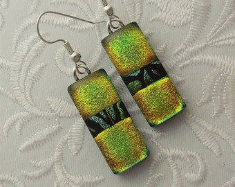 Chartreuse Earrings - Bohemian Earrings - Dichroic Fused Glass Earrings - Glass Earrings - Dichroic Earrings - Dichroic Jewelry X7811