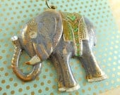 Elephant Pendant - Antique Brass - Hand Painted - Gray with Green - Dry Gulch 66462