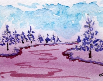 Original Watercolor ACEO Art Card, Purple, Wilderness Forest