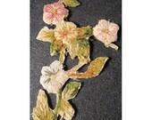 Winter SALE - Chenille Applique Embroidery Trim 19thc