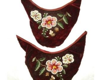 Surprise SALE - Sweet Antique Velvet Beaded Embroidery Applique Fragments Edwardian