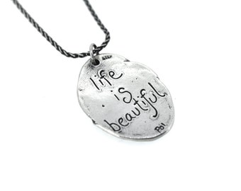 sterling silver quote necklace . romantic engraved floral necklace . inspired jewelry . ready to ship gift
