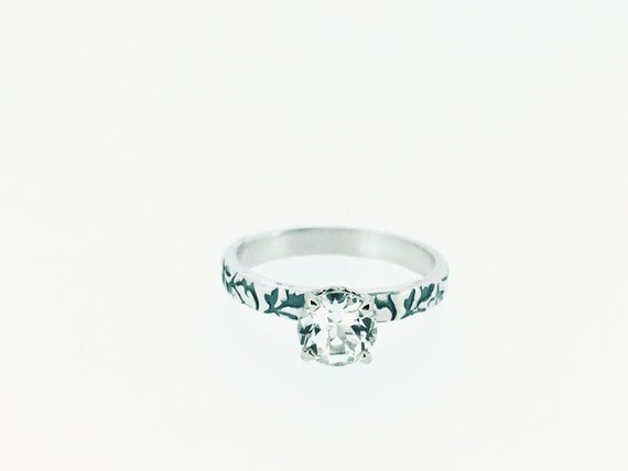 unique engagement ring . white topaz engagement ring . vine ring . made to order by peaces of indigo