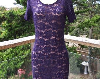 Lace Dress, Stretch Lace dress, Blue lace dress, Bodycon lace dress, dark blue dress, size M / L