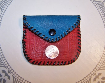 Leather coin purse, Hand tooled bag, Indian coin bag, Western coin purse, small coin purse
