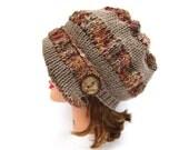 Desert Sun Mix Taupe Cloche - Knit Hat With Button - Women's Cloche - Flapper Hat - Asymmetrical Cloche - 1920s Cloche Hat - Ruched Hat