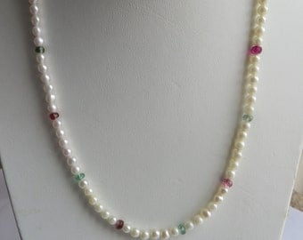 "Unique Cultured Pearl & Natural Tourmaline 19"" Necklace, 14K gold filigree clasp, free US first class shipping"