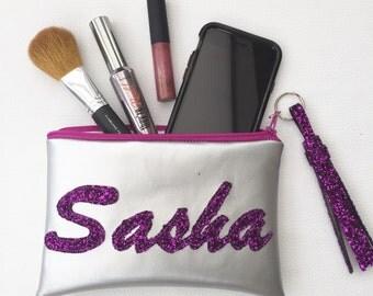 Custom Made Vegan Faux Leather Personalised Makeup Glitter Purse Bag