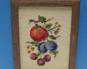 Needlepoint Framed Complete Vintage Wall Hanging Needlework Handmade Fruit Apple Plum Grape Tapestry Oak Wood Frame