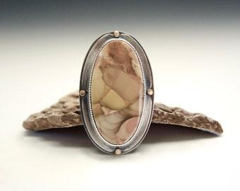 Willow Creek Jasper, Jasper Ring, Sterling Silver, Gold, Statement Ring, Elegant, Rustic, Fabricated