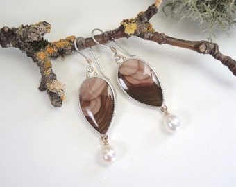 Imperial Jasper Earrings with Pearl Drops, Pink and Brown Dangle Earrings, Sterling Silver, 14kt Gold, Handcrafted