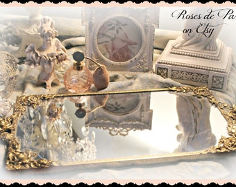 Gorgeous vintage mirrored dresser tray   stunning large cabbage roses  Shabby French