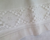Linen Hand Towel with Upcycled Vintage Lace Trim OOAK Big Hand Towel/Table Runner Huck Linen