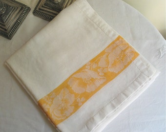 """Vintage White Linen Jacquard Tablecloth with Gold Poppy Border 55"""" x 48"""""""
