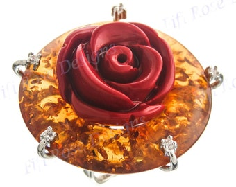Red Rose Amber Cz Gems 925 Sterling Silver Us 7 Ring