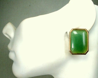 Jade Green and Gold Post Earrings, 1980s Cropped Corner Large Stone Rectangles