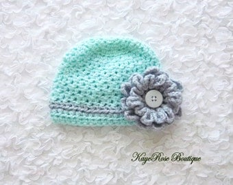Newborn to 3 Month Old Baby Girl Crochet Flower Hat Aqua and Gray