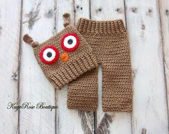 Newborn Baby Boy Crochet Owl Hat and Pants Set Brown