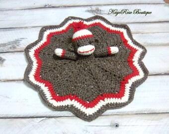 Crochet Sock Monkey Baby Lovey Chevron Blanket