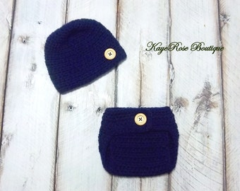 Newborn to 3 Month Old Baby Boy Hat and Diaper Cover Set Navy Blue