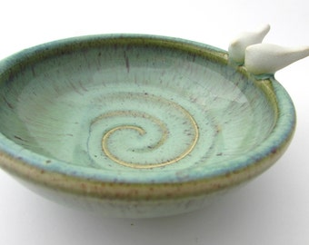 Love Bird Ring Dish// Soap Dish/ /Catchall in Light Green