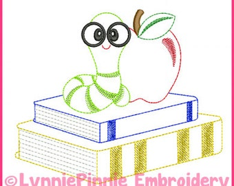 Book Worm Colorwork Sketch Embroidery Design 4x4 5x7 6x10 Machine Embroidery Design
