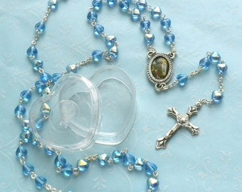 Rosary with Blue Heart Beads - 1950s Rosary - Made in Italy - Pray for Us - Aurora Bourealis finish beads