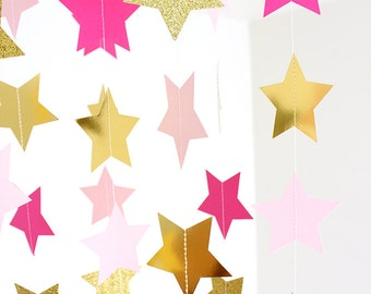 Twinkle Twinkle Little Star, Pink and Gold Stars Paper Garland - 10 ft strand