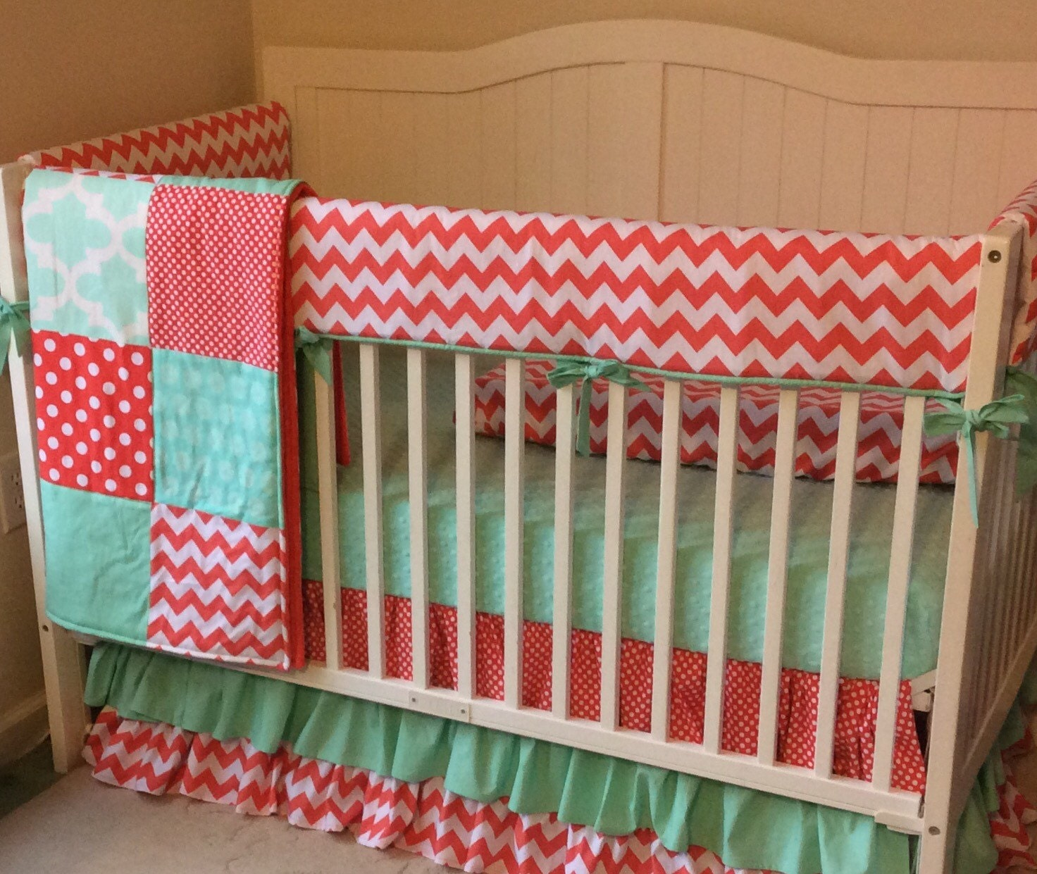Coral And Mint Bedding Crib Bedding In Coral And Mint Bumperless With Ruffles