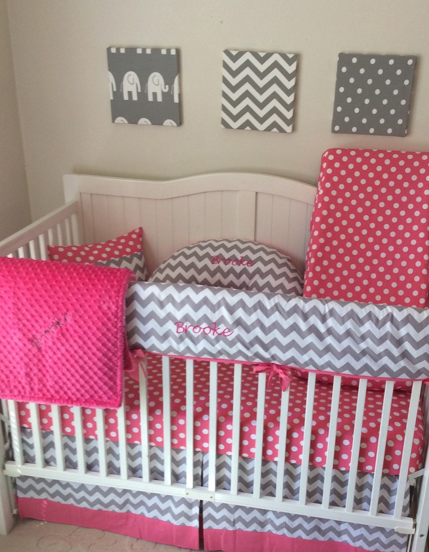 baby crib bedding monogrammed bumperless nursery set gray with