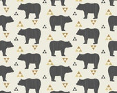 Fitted Crib Sheet and Stright Crib Skirt - Woodland Bears and Triangles - Mustard, Cream and Ash Black