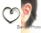 Daith Earring Heart Earring Nickel Free Thinner Smaller 20gauge Titanium Daith Piercing, One (1) Single