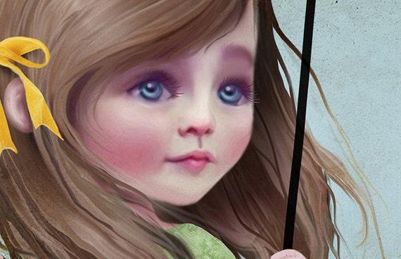 "Fantasy Art Print 5x7 - ""Willow"" - Small Premium Hahnemuhle Giclee Fine Art Print - Nursery Art - Little girl swinging on the moon"
