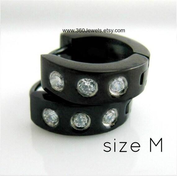 Men's hoop earrings, reversible hoop earrings,  diamond cz earrings for men, black steel hoop earrings for men, huggie hoop earrings, 155A
