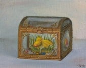 Reserved listing / Original oil painting - Treasury box
