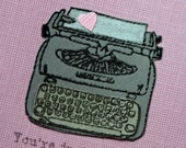 Just my type valentines card,  I love you, anniversary, thinking of you, cut paper, typewriter, grey and pink, embossed, office