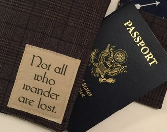 Passport Cover and Luggage Tag, not all who wander are lost, Passport Wallet and Luggage Tag, passport covert, vegan
