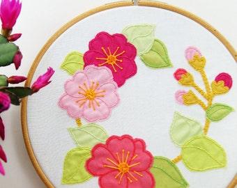 Sakura Blossom Embroidery and Appliqué Pattern - PDF