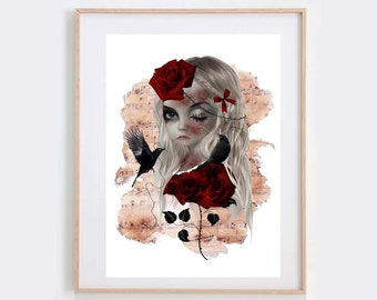 Wild Rose - Gothic Art Print - Blackbirds - Goth Girl Portrait