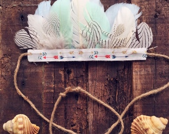 Boho feather crown for babyes and toddlers, colored arrows
