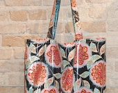 SALE Large Laminated Cotton Tote Bag - waterproof fabric- reversible - vintage style floral print
