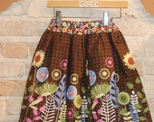 SALE Fall Floral Skirt - border print cotton fabric- modern girls kids fall winter fashion - ready to ship - size 6 7 8