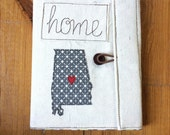 Home State Love Covered Composition Book with pen, made to order, notebook, journal, guest book, cute notebook, state silhouette, applique