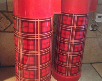 2 Tartan Plaid Aladdin One-Quart Vacuum Bottles