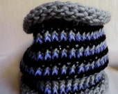 Cowl neck Scarf, handmade, soft and cozy, blue black and gray