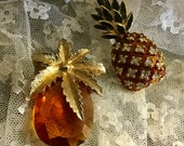 Two Pineapple Brooches Pins One Signed Sarah Coventry One Unsigned Faceted Glass Enamel and Rhinestones Impressionist Goldtone