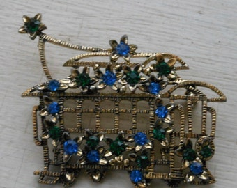 Vintage Rhinestone brooch trolly pin green blue rhinestones adorable stret car pin San Fransisco