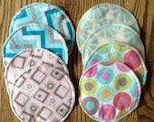 4 Pair of Large Size Nursing Pads, Reusable Absorbent. Flannel Prints