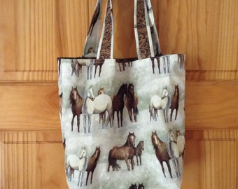 Horse Tote Bag, Library Bag, Book Bag, Little Girl Cute Gift, purse, ready to ship